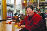Writer Lori Lake relaxes at Fleur de Lis Bakery in the Hollywood district. (Judy Nelson)