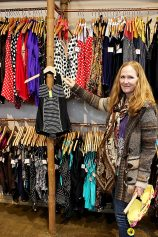Pamela Levensen, owner of Hollywood's Popina bathing suit boutique and designer of its swim line, displays the 'Olivia.' Many of Popina's suits are named after members of Levensen's family. (Jamie Caulley)