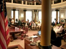 Citizens pack Portland City Hall chamber at the end of May to express opinions on the proposed Council imposition of a business and residential road repair fee. Following the testimony, a  Council vote on the fee was delayed until after the summer. (Phill Colombo)