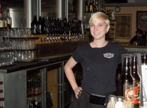 Alameda Brewpub server Roxanne Orlik-Hill prepares to make a cocktail to serve customers. (Judy Nelso)