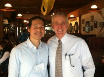 Hollywood Booster President Yu Te, left, and Portland Mayor Charlie Hales at the February Hollywood Boosters luncheon.