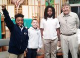 Trinity Lutheran School Geo Bee winner: Uwem Etuk, left, a fourth-grade student at Trinity Lutheran School, won the school competition of the National Geographic Bee on January 24. Ezra Riedel, second from left, took second place and Elijah Oden-Orr took third. (Trinity Lutheran School)