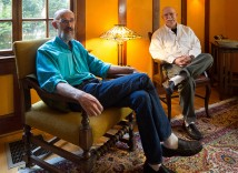 Inside their 1906 home designed by Emil Schacht and listed on the National Register of Historic Places, Robert Mercer, left, and Jim Heuer diligently research house histories for the Irvington Home Tour. Heuer also photographs the historic homes.