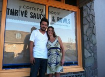 Eric Garrett, left has taken the lead on build out for Erika Reagor's new restaurant, Thrive Sauce and Bowls, which will open this month in the former Alameda Cafe space in Beaumont Village. (Jane Perkins)