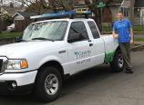 Aaron Marshall's Clean Air Lawn Care trucks feature solar panels that convert solar energy to power the company's equipment throughout the day. (Clean Air Lawn Care)